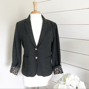 Forever 21 • Grey Wool Blazer with Leopard Print